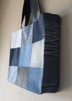 Patch Front Denim Tote Bag - Fully Lined with a Yellow and Blue Muted Soft Cotton Fabric and Two Interior Pockets by AllintheJeans on Etsy