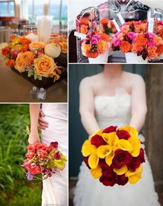 Bergerons Tips and Tricks- How to Pick Florals for your Wedding Season- #Fall #Flowers #Bouquets #Centerpieces #Harvest #orange #pink #red #fruit Photo Credits: (top left, clockwise): #KristiOdomPhotography #FreedPhotography #KellyEwellPhotography and #EverAfterVisuals