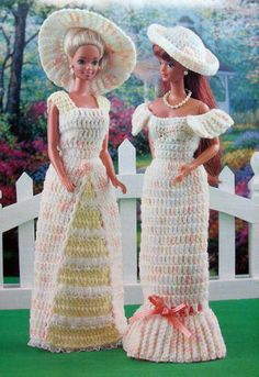 Crochet PATTERN ONLY 2 Barbie Garden Party Dresses ~ Fashion Doll Southern Lady