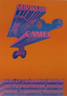 """Victor Moscoso (b. July Sopwith Camel, 1967 - color offset lithograph on paper Printer: Graphic Arts of Marin & Cal Litho; Publisher: Neon Rose (Smithsonian) """"Born in Spain, Victor Moscoso. Moving To San Francisco, San Francisco Art, Rock Posters, Concert Posters, Art Posters, Psychedelic Music, Psychedelic Posters, Hippie Posters, Victor Moscoso"""