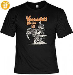 T-Shirt Funshirt als Geburtstags-Geschenk - Vorsicht! Biker über 50 - witziges Spruchshirt als Geschenk für echte Motorrad Liebhaber, Größe:XL (*Partner-Link)