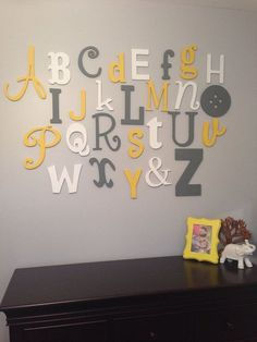 Painted Wooden Alphabet Set Mixed Wood Wall Letters Abc Nursery Decor Baby Shower Gift