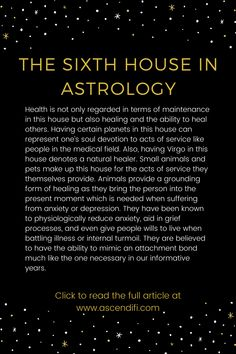 Your manifestation maintenance, mental and physical driven habits, service to others and ourselves. Learn Astrology, Astrology Chart, Zodiac Signs Astrology, Zodiac Facts, Astrology Houses, Magick, Witchcraft, Zodiac Houses, Ascendant Sign