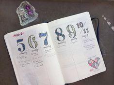 Bullet journal weekly layout, vertical dailies, patterned date headers. | @abujonewbie