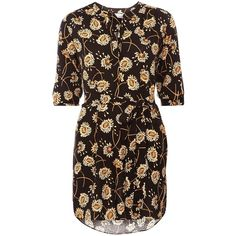 Dorothy Perkins Petite Floral Shirt Dress ($47) ❤ liked on Polyvore featuring dresses, petite, women, yellow, petite dresses, dorothy perkins, shirt-dress, floral dress e floral shirt dress