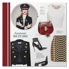 """Fantaisie Militaire"" by redflowergirl ❤ liked on Polyvore featuring Yves Saint Laurent, Balmain, Gianvito Rossi, Ted Baker, Chloé, Steve Madden and velvet"