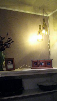 DIY Wine Bottle Pendant Lights -. Just need a Dremel, masking tape, and water   @Lezley Lenz
