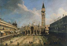 Canaletto, Plaça de San Marco de Venècia. c. 1720. Oli sobre tela, 142 x 205 cm. Madrid: Museo Thyssen-Bornemisza.