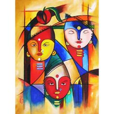 Resultado de imagen para paintings by anup giri Indian Art Paintings, Modern Art Paintings, Art And Illustration, Rajasthani Painting, Abstract Face Art, Indian Folk Art, Madhubani Painting, Krishna Art, Traditional Paintings