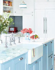 blue island + marble countertop + farmhouse sink