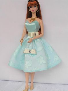 Handmade Party Dress Gown Outfit Fashion Royalty Silkstone Barbie in Pale Green