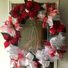 Property of Personalized Traditions - Christmas Poinsettia Wreath - Christmas Deco Wreath