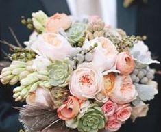 tuberoses, garden roses, succulents, brunia, scabiosa pods