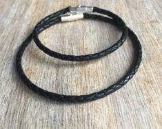 Black Braided Leather Bracelet, Simple Bracelet, Couple Bracelets, His and her Bracelet, Minimalist LC001172