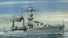 El crucero ligero Emden, luciendo en la proa la cruz de hierro ganada por su antecesor. Construído en 1925, según los parámetros del Tratado de Versalles. De 5.300 t, andar de 29 nudos, 8 piezas de 15 cm (en torres simples, por exigencia de los Aliados) y un blindaje de 50 mm. Pese a su veteranía tuvo su protagonismo durante la SGM, primero actuando como minador, más tarde en el asalto a Noruega, formando parte de la escuadra que atacó Oslo, junto al... Más en www.elgrancapitan.org/foro