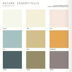 Des teintes végétales s'assemblent aux bleus minéraux dans une parfaite harmonie #zolpan #peinture #nuancier #palette #couleurs #pastel #beige #jaune #vert #bleu