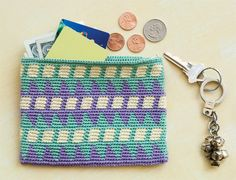 "Tapestry Crochet Wallet by Carol Ventura. ""Best thing about tapestry crochet? You can go crazy with color because you have just a few ends to weave in."""