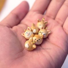 Cute Corgi Charms This is 100% handmade polymer clay jewellery. Each individual are exclusively handmade by me with extra attention to details. Measurements: • size : 1,5 cm ________________________________________________________________ Materials: • Polymer clay • Alloy hook • Gloss