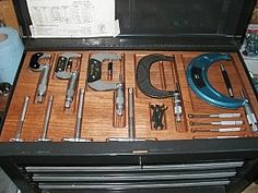 Homemade custom toolbox trays intended to fit a variety of precision hand tools. Routed from 1 Tool Drawer Organizer, Tool Box Cabinet, Tool Drawers, Tool Storage, Storage Shelves, Metal Lathe Projects, Wood Projects, Mobile Tool Box, Machinist Tool Box