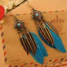 Bohemian Pendientes Largos Black Blue Pink Feather Leaves Wholesale Dangle Earrings Boho Brincos Grandes For Women Boho Necklace, Boho Jewelry, Jewellery, Necklaces, Jewelry Crafts, Jewelry Ideas, Vintage Jewelry, Jewelry Design, Women Jewelry