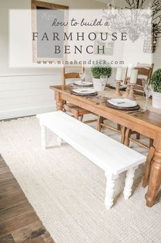 How to Build a Simple Farmhouse Bench with Free Building Plans #farmhouse #farmhousedecor #modernfarmhouse #homedecor