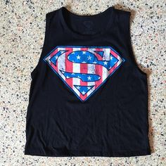 Stars & Stripes Superman Muscle Crop Top Super cute top with the Superman logo in Stars and Stripes. Tag says XS but would also fit S. Great used condition. Hot Topic Tops Muscle Tees