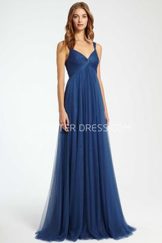 25b89e80d5b Empire Sleeveless Strapped Ruched Tulle Bridesmaid Dress With Pleats