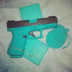 Glock 19 custom cerakoted Tiffany&Co Blue by Modern Paladin in Newport News VA. Tiffany&Co Skeleton Key necklace in gold. I want my Glock this color! Love Gun, Cool Guns, Guns And Ammo, Concealed Carry, Paladin, Self Defense, Girls Be Like, Girls Best Friend, Airsoft