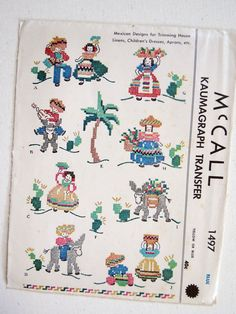 Rare Vintage 1949 Mexican Motifs Embroidery by KomaterSisters