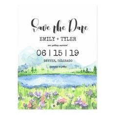 Spring Lakeside Mountain Forest Save The Date Postcard - spring wedding diy marriage customize personalize couple idea individuel