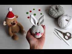 Зайка на пуговичном креплении. Вяжем голову. Зайка крючком. - YouTube Crochet Animal Amigurumi, Crochet Teddy, Crochet Animal Patterns, Crochet Bunny, Stuffed Animal Patterns, Crochet Animals, Crochet Dolls, Knit Crochet, Knitted Bunnies