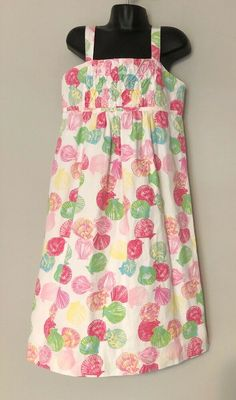 5e8e7f0eefdbc3 Lilly Pulitzer Girls Dress 12 Pink Green Shells Scallops Smocked Straps Long  #LillyPulitzer