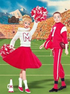 Barbie Cheerleader  Ken Football Player  reproduction box gift set, based on original 1960's outfits and design