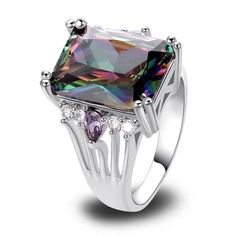Multi Color Mysterious Rainbow Topaz 925 Silver Ring