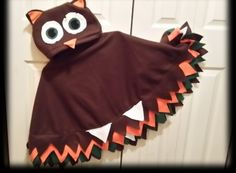 Owl fleece cape  -  hat - choice colors - Kids Halloween costume - custom colors listing - baby toddler child - size 1 2 3 4 5 6 7 8 10 12