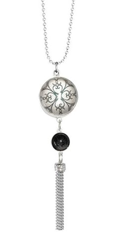 """This is our Believe pendant from the Joli collection… the reverse has the quote """" She Believed She Could, So She Did""""  Loving the silver ball tassel! www.fabuleuxvous.com"""