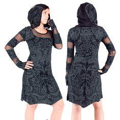 INANNA MAIA black/grey winter dress, printed Maori tattoos, long sleeves, fishnet collar, hoodie, teuf, rave, trance, psywear, tribal, Handmade Materials: elastane, cotton, hooded, long sleeves, finger finger, fishnet on sleeves, collar and hood, mittens with sleeves, large hood, medium length dress, pointed front and back, printed tribal tattoos, Maori tattoos