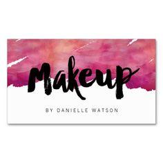 Watercolor Calligraphy Makeup Artist Business Card