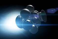 ->Antimatter and Fusion Drives Could Power Future Spaceships<-  The Daedalus spacecraft's spherical tanks contain the fuel pellets for the nuclear fusion engine.