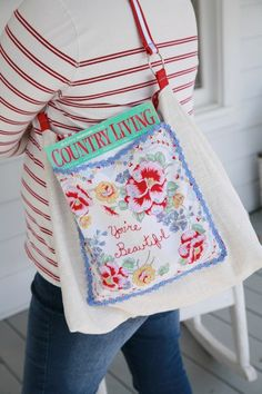 Hand Embroidered Hanky Tote
