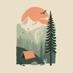 Shop graphic tees, artwork, iphone cases, and more designed by the worldwide Threadless community. Art And Illustration, Illustration Design Graphique, Mountain Illustration, Landscape Illustration, Pattern Illustration, Character Illustration, Art Inspo, Kunst Inspo, Inspiration Art