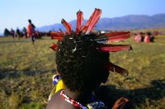 Swazi girls attend Umhlanga, the annual Reed Dance festival.