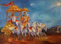 Mahabharat Battle - Krishna as charioteer and Arjun the warrior #art #painting #krishna #arjun #mahabharat #kurukshetra #horse #royalhorse #whitehorse #chariot #hanuman #chariotwithflag #hanumanflag