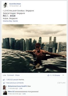 David Beckham stops by the Marina Bay Sands for a quick dip in the pool!