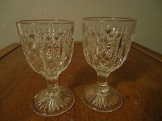 EAPG Antique Pressed Glass Panelled Lattice Pattern Wine Goblets Stems Pair