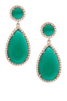 Green Agate Teardrop Drop Earrings