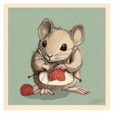 Original Illustration by Aileen Leijten. Knitting Quotes, Knitting Humor, Knitting Yarn, Knitting Projects, Knitting Patterns, Maus Illustration, Knit Art, Cute Mouse, Beatrix Potter