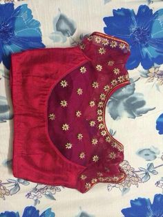 Red and gold statement saree blouse design. keep your neck free of jewelry for this one. Wedding Saree Blouse Designs, Simple Blouse Designs, Saree Blouse Neck Designs, Stylish Blouse Design, Silk Saree Blouse Designs, Choli Designs, Blouse Patterns, Work Blouse, Designers