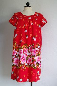 Ui Maikai Vintage 1960- 70s Hawaiian Floral Print Red Cotton Muu Muu Dress, $35.00