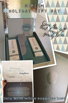 GIVE THE GIFT THAT KEEPS ON GIVING!!! Nerium holiday gift sets are HERE! Yay!  I can get this for you at my cost, but supplies are limited. Please call me or text 505-922-5402. Stefanie